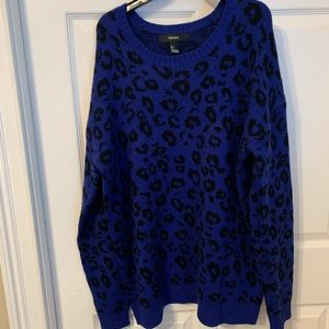 ☆ blue and black cheetah sweater ☆